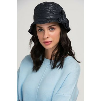 10916 Quilted Bow Detailed Bucket Navy Blue Hat SPK-1850