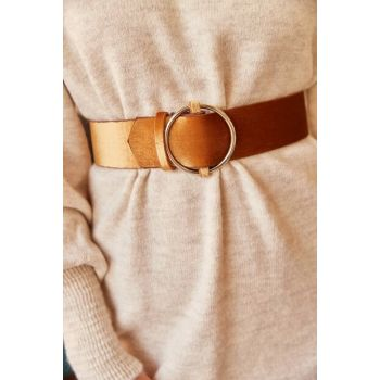 Women Camel Feather Suede Buckle Faux Leather Belt KMR-19000026