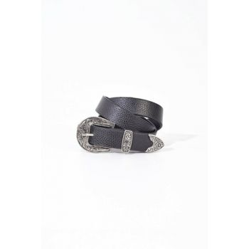 Women Black Belt Buckle Detailed Belt K367 - MA ADX-0000020490