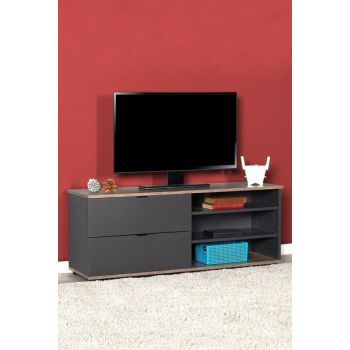 Flat Line Plus Two Compartment Three Compartment Tv Table - Latte / Anthracite TVC-502-LA-1