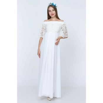 Low Shoulder Lace Maternity Dress White ML010500X