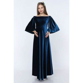 Low Shoulder Velvet Maternity Dress Oil Blue ML010900X
