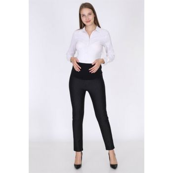 Luvmabelly 8150 - Striped Black Maternity Trousers MYRA8150