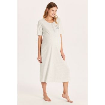 Women's Gray Melange Ct3 Maternity Clothes Nightgown 9W4095Z8