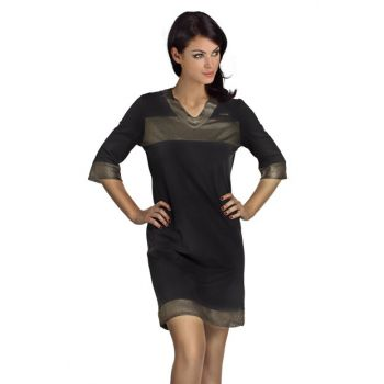 Women's Black Black Gold Combed Nightgown 002-000335