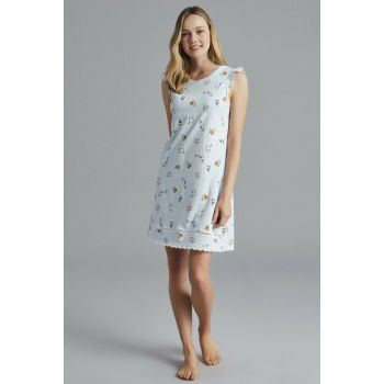 Women's Light Blue Happy Hours Nightgown PNGWJLGM19SK-A35