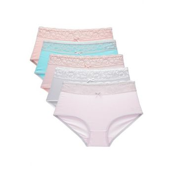 Women Mixcolor Panties Plus Size 5'Li Paket 26058