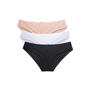 Women's Black & White / Skin 3-Pack Panties 63473
