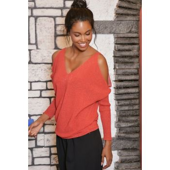Women Red Back Front V Neck Sweater Blouse ALC-Y2853