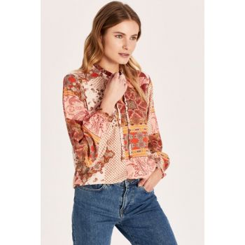 Women's Tile Printed Blouse 0S1699Z8