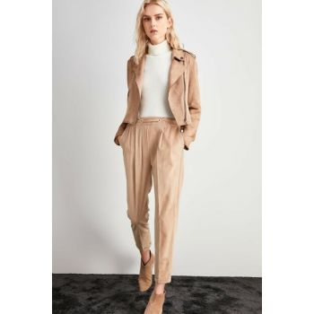 Beige Binding Detailed Trousers TWOAW20PL0449
