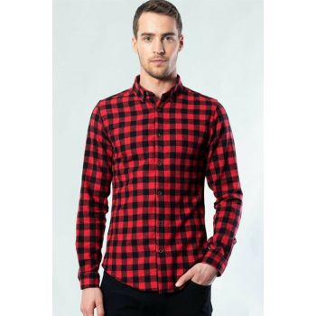 Slim Fit Checkered Men's Sport Shirt DR200003-622