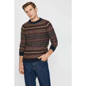 Men's Navy Blue Patterned Sweater 0KAM94125OT