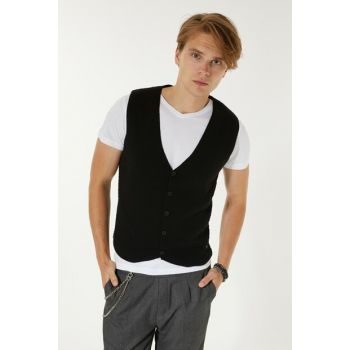 Black Men's Dobby V Neck Vest A92S6562