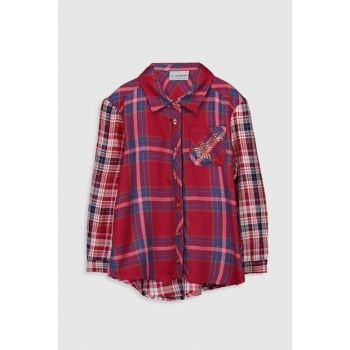 Girl's Burgundy Plaid Llh Shirt 9WQ700Z4
