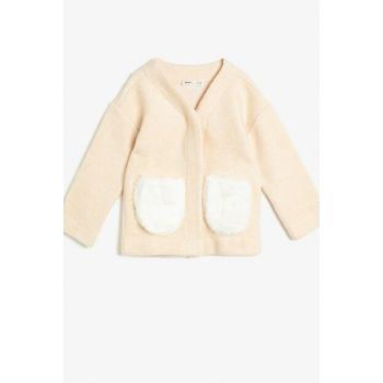 Ecru Girl Pocket Detail Cardigan 0KKG57168AK