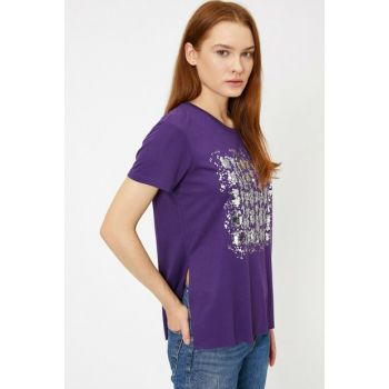 Women Purple Sequins Detailed T-Shirt 0KAK13220EK