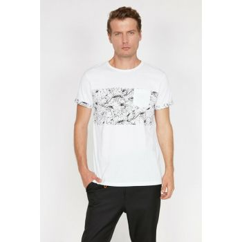Men's White Pocket Detailed T-Shirt 0KAM14475OK