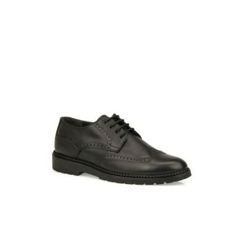 Genuine Leather Men Black Casual Shoes 93415 455035