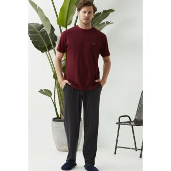 Men's Burgundy O-Neck Underwear. Short Sleeve Pajama Set ESE0219Y0035