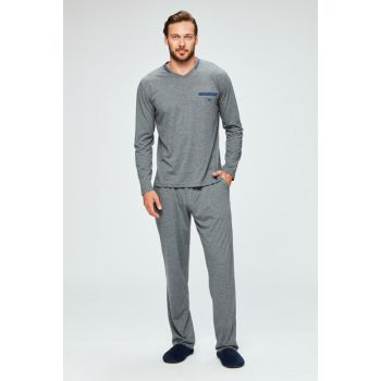 Men's Gray Malkara V Neck Long Sleeve Pajama Set E0218K0012