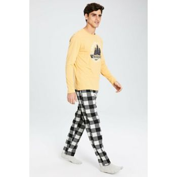 Men's Black Plaid Pajamas Set 9WL590Z8