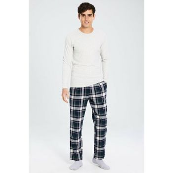 Men's Green Plaid Pajamas Set 9WL032Z8