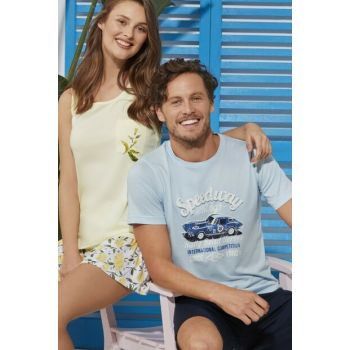 Men's Light Blue O-Neck 2 Rope. Shorts Set ESE0219Y0025