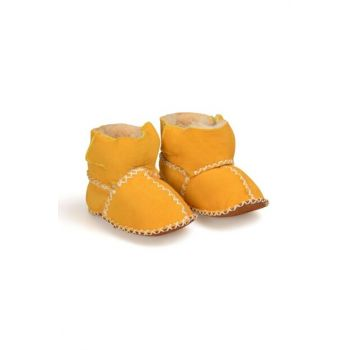 Yellow Genuine Fur Velcro Baby Shoes 141008