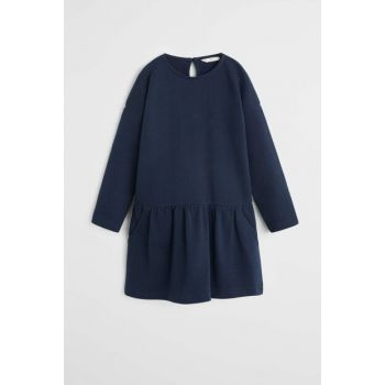 Navy Blue Girls' Dress with Pockets 53090813