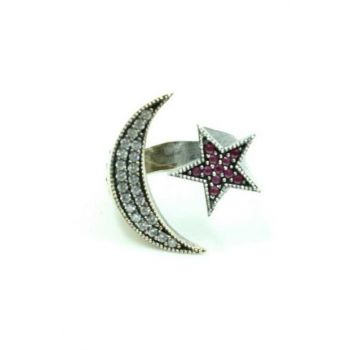 Authentic Women's Silver Ring Ring crescent flag of Turkey washing-243 NPC-243