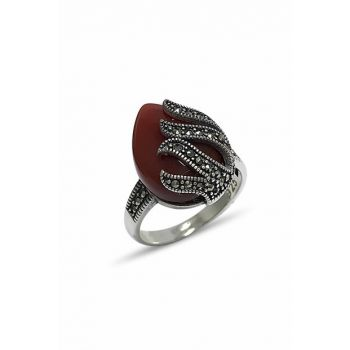 Women's Agate Sterling Silver Marcasite Ring 2020230A