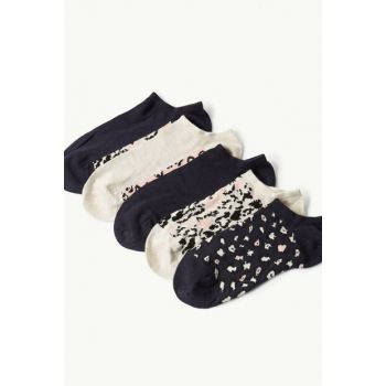Women's Navy Mix 5 Pieces Soft Textured Socks Set T60009826