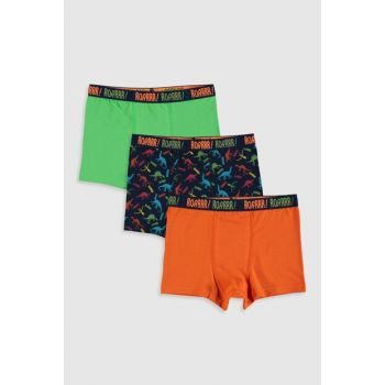 Boys' Navy Blue Printed Lsj Boxer 3 Pieces 9WQ150Z4