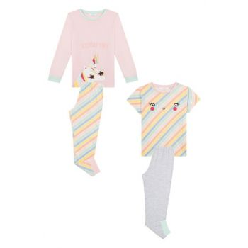 Girl's Multi-Color Unicolor Pajamas Set for 4 People PNFVKPXL19SK-MIX