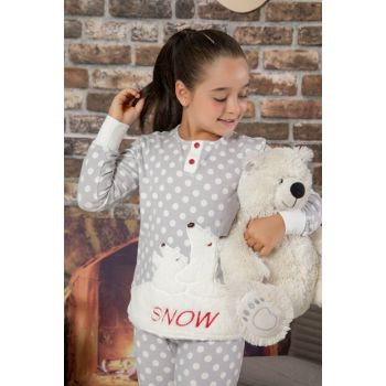 Girl Kid Gray Welsoft Embroidered Cotton Lycra Sleepwear Suit 2130