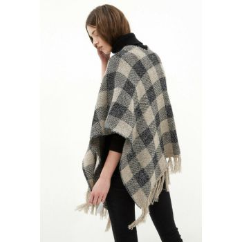 Women's Black Plaid Poncho 7KAK94341GT