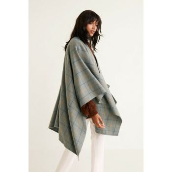 Women's Light Grinded Gray Plaid Poncho 33085785