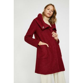 Women's Burgundy Pocket Detailed Coat 0KAK06167EW