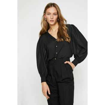 Women's Black Long Sleeve Button Detailed Shirt 0KAK68796PW