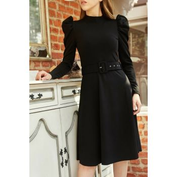 Women's Black Shoulder Pleated Belt Dress 9YXK6-41915-02
