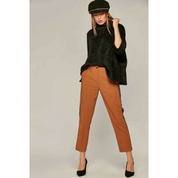 Women Mustard Leopard Striped Trousers 6326 Y19W109-6326