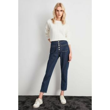 Blue Front Button High Waist Mom Jeans TWOAW20JE0287