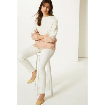 Women Beige Mid Waisted Slim Leg Jean Trousers T57007588B