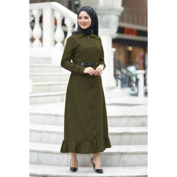 Women's Khaki Waist Belt Dress TSD1145