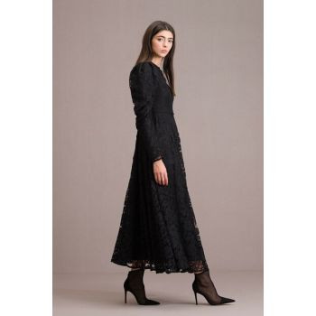 Women Balloon Sleeve Lace Dress Black T202