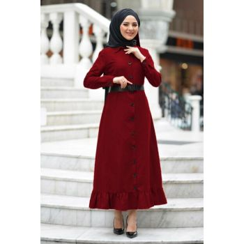 Women's Burgundy Waist Belt Dress TSD1145