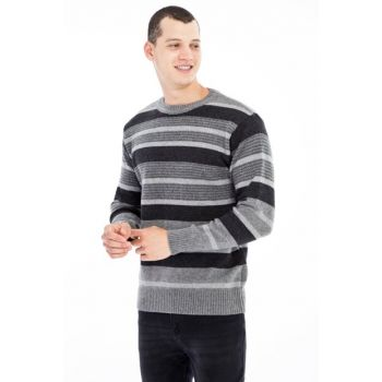 Crew Neck Pattern Sweater 79686