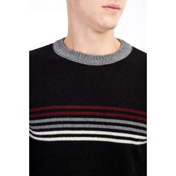 Crew Neck Pattern Sweater 79610