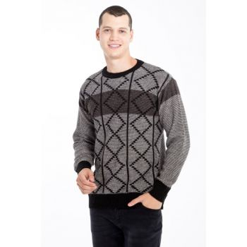 Crew Neck Pattern Sweater 79704